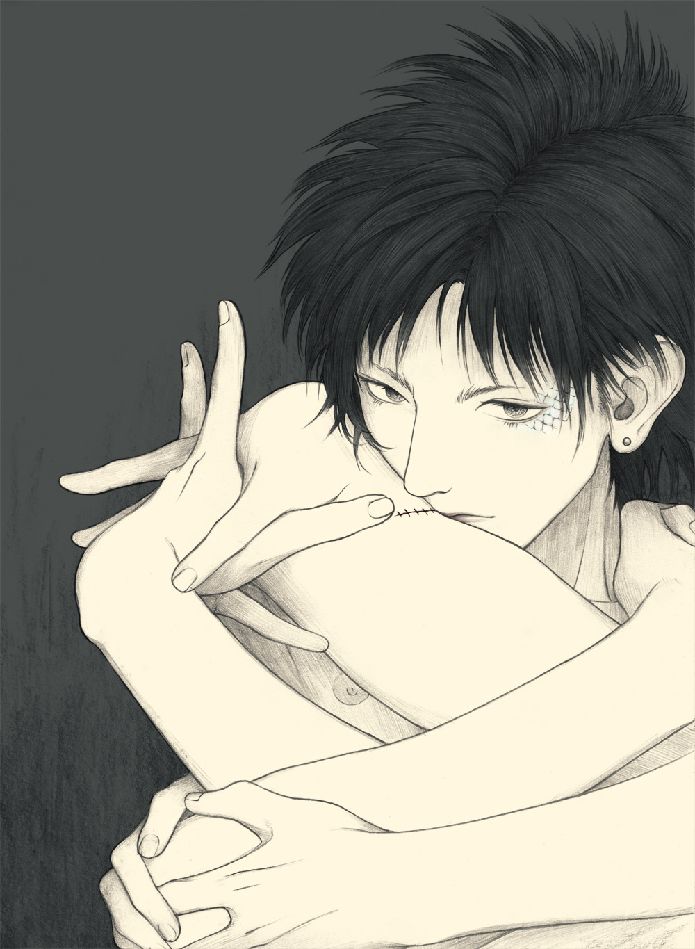 Ren from DRAMAtical Murder naked and holding hands black haired anime boy uke DMMd fanart Ren surrealist bishounen art - Touch dramatical-murder-yaoi Uke Scars Ren - fanarts on yaoi-online.com
