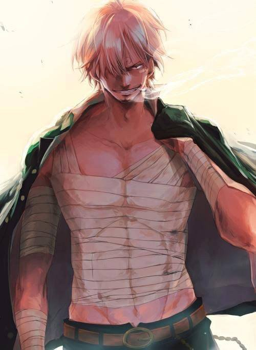 Sanji Vinsmoke with bandages smoking a cigarette One Piece fanart Half naked Sanji with bandaged chest Bara man with bandages smoking anime handsome Sanji One Piece pirates - Bandaged chest one-piece-yaoi Vinsmoke Sanji Smoking Seme Bandages - fanarts on yaoi-online.com
