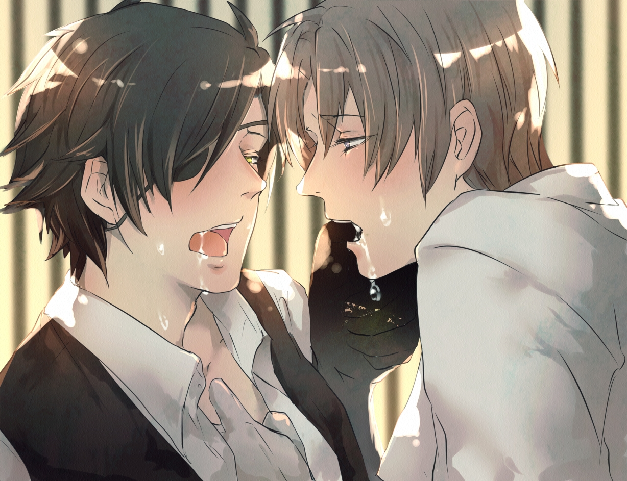 Shokudaikiri Mitsutada and Heshikiri Hasebe kissing both blushing breathing heavily and aroused MitsuHase TouRan yaoi hot fanart Touken Ranbu Hasebe x Mitsutada hot and passionate kiss with saliva - More and more touken-ranbu-yaoi Shokudaikiri Mitsutada Kissing Heshikiri Hasebe - fanarts on yaoi-online.com