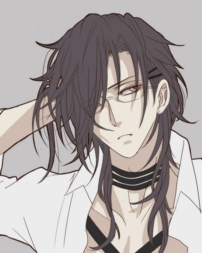 hot anime boy with glasses and hairpins Akashi Kuniyuki from Touken Ranbu fanart Bishounen with half long black violet hair and golden yellow eyes - Daydreaming touken-ranbu-yaoi Uke Glasses Bishōnen Akashi Kuniyuki - fanarts on yaoi-online.com