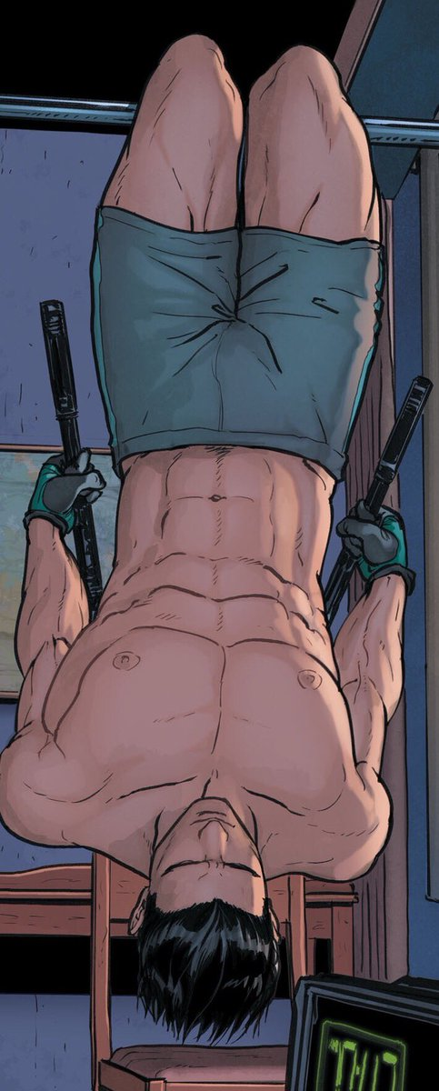 topless Dick Grayson Nightwing exercising doing crunches while hanging and wearing green shorts hot DC Comics art six pack muscles - Nightwing dc-comics-yaoi Seme Dick Grayson (Nightwing) - fanarts on yaoi-online.com