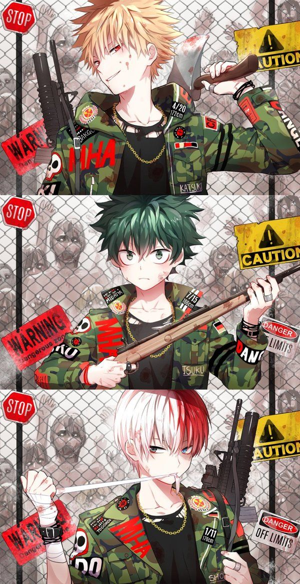 Badass Bakugo Midoriya and Todoroki zombie style Boku no Hero Academia fanart hot boys with guns axes bandages wearing moro punk jackets BnHA fanart zombie anime phone wallpaper post apo - Invulnerable boku-no-hero-academia Shoto Todoroki Katsuki Bakugo Izuku Midoriya Guns Bandages Bad boy - fanarts on yaoi-online.com