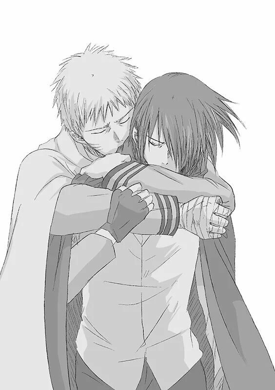 Naruto hugging Sasuke leaving sad and emotional SasuNaru Shippuden yaoi fanart Sasuke Uchiha x Naruto Uzumaki embraced boys hugging eyes closed - I'd see you again someday naruto-yaoi SasuNaru Sasuke Uchiha Naruto Uzumaki Monochrome Hugging Bandages - fanarts on yaoi-online.com