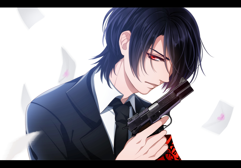 Red eyed and black haired anime boy with a gun wearing a black suit showing no emotions Inugami Gugure Kokkuri san fanart dangerous mafia hitman character demon roleplay picture - Red eyes and black hair gugure-kokkuri-san-yaoi Mafia Inugami Guns Demon - fanarts on yaoi-online.com