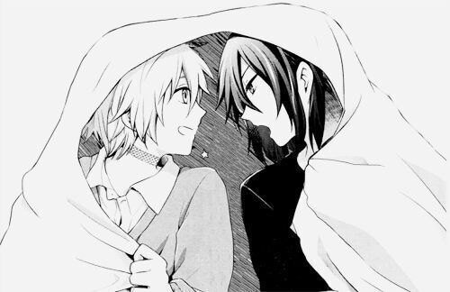Shion and Nezumi from anime No 6 under the blanket cute adorable yaoi black and white monochrome minimalistic fanart Shounen ai boys love NezuShi smiling happy Shion - Under the blanket no-6-yaoi Shion Nezumi Monochrome - fanarts on yaoi-online.com