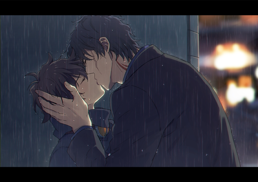 Steven A Starphase kissing Leonardo Watch in the rain romantic Kekkai Sensen yaoi fanart Steven x Leo romantic anime kiss in the rain Shounen ai soft fanart adult older seme young uke - Back alley kekkai-sensen-yaoi Tattoos Scars Leonardo Watch Kissing - fanarts on yaoi-online.com