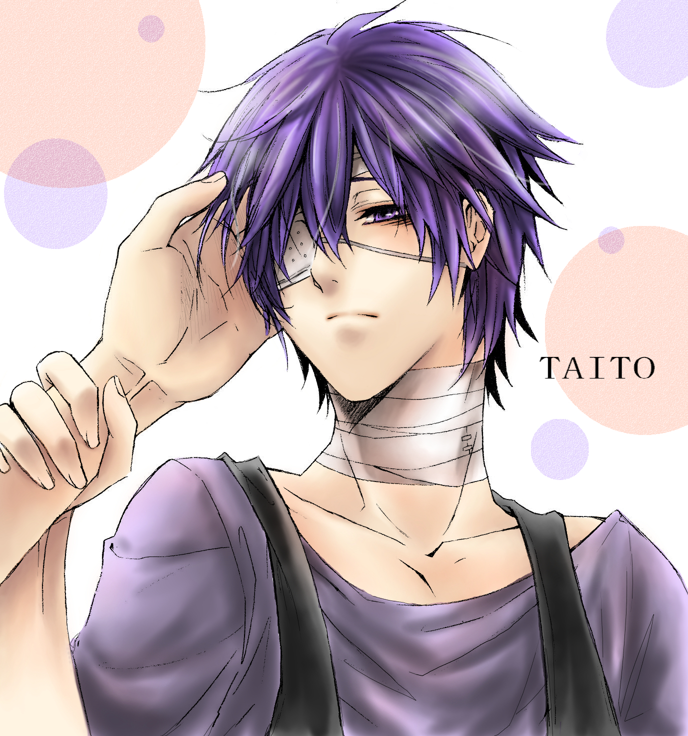 Taito Vocaloid fanart violet haired boy with bangades on his neck and a medical eyepatch on his right eye yandere Kaito purple haired anime boy cute yaoi uke emo scene anime boy fanart - Look after me vocaloid-yaoi Yaoi avatars Uke Bandages - fanarts on yaoi-online.com