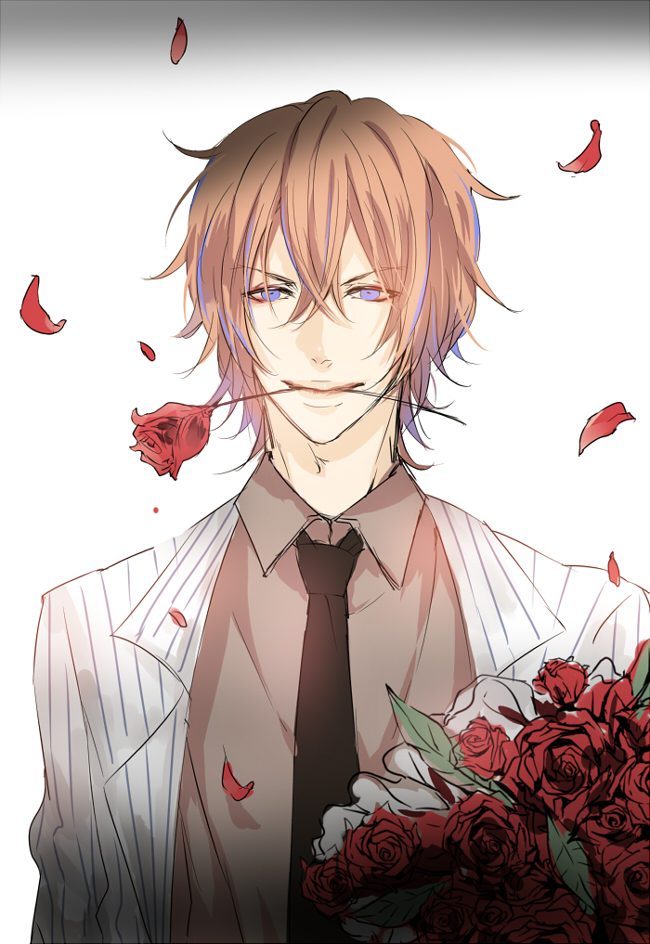 Ultra handsome ginger haired anime boy with blue eyes holding red rose between his teeth wearing black tie Shinkai Hayato from Yowamushi Pedal YowaPeda yaoi fanart red roses bouquet romantic seme - Romantic one yowamushi-pedal-yaoi Shinkai Hayato Seme Formal wear - fanarts on yaoi-online.com