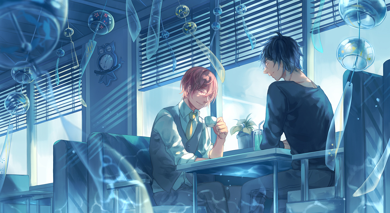 amazing Ten Count Shounen ai fanart Riku Kurose and Shirotani Tadaomi sitting in the cafe on a sunny and windy beautiful day two boys on a date drinking coffee and soda glass wind chimes magical mood - Magic of love ten-count Yaoi desktop wallpapers - fanarts on yaoi-online.com