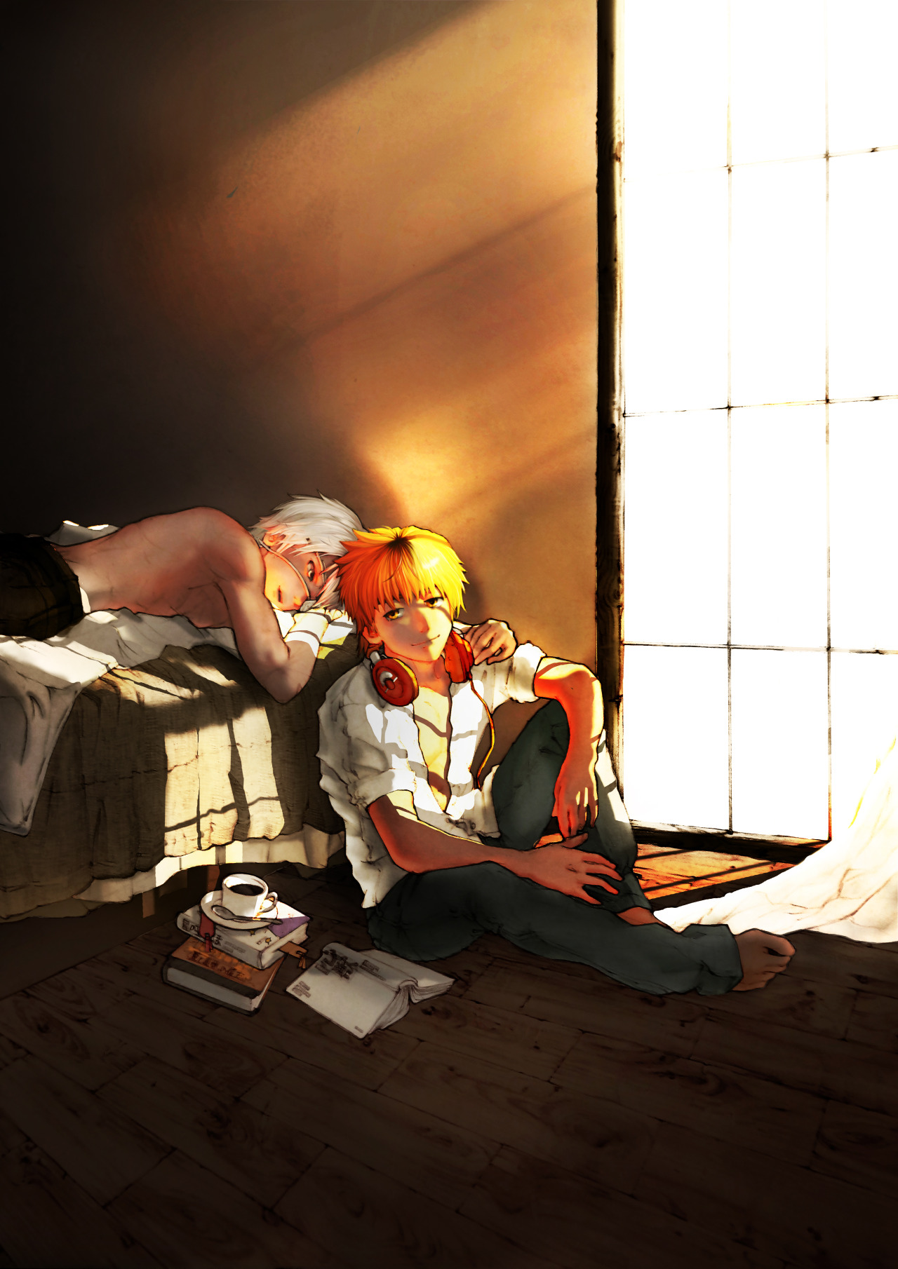 cute HideKane iPhone wallpaper Ken lying on the bed and Hide sitting next to it Tokyo Ghoul yaoi fanart Ken Kaneki x Nagachika Hideyoshi TG couple morning lightrays bedroom - Lightrays tokyo-ghoul-yaoi Sleeping Nagachika Hideyoshi Ken Kaneki HideKane - fanarts on yaoi-online.com