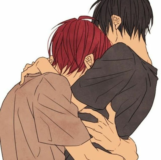 two boys hugging cute yaoi fanart of red haired and black haired boys hug Rin Matsuoka and Haruka Nanase Free Iwatobi Swim Club Shounen ai fanart RinHaru hug Rin x Haru avatar - Stay like this for a while free-iwatobi-swim-club-yaoi Yaoi avatars RinHaru Rin Matsuoka Hugging Haruka Nanase - fanarts on yaoi-online.com