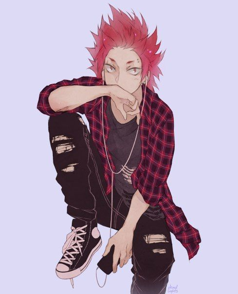 punk rock BNHA Kirishima Eijirou wearing ripped black jeans red and black checkered shirt black and white sneakers with gelled hair and pierced eyebrow hot and rebellious red haired seme Boku no Hero - Gonna bite you boku-no-hero-academia Seme Piercing Kirishima Eijirou - fanarts on yaoi-online.com