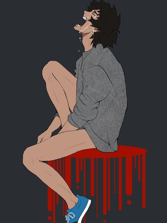 Akira Fudo wearing only a grey sweater and blue sneakers crying out loud Devilman Akira fanart long legs no pants on sad anime boy with black hair emotional uke demon Devilman Crybaby - Save me devilman Uke Crying Blood Akira Fudo - fanarts on yaoi-online.com