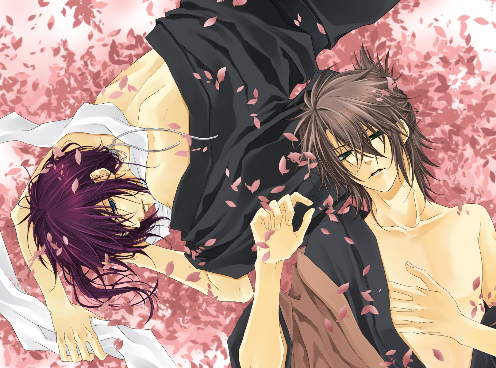 Souji Okita and Saitou Hajime lying among cherry blossoms Hakuouki Shinsengumi Kitan yaoi fanart romantic yaoi HD wallpaper two boys lying next to each other - Let's spend eternity together hakuoki-shinsengumi-kitan-yaoi Yaoi desktop wallpapers Souji Okita Saitou Hajime Bishōnen - fanarts on yaoi-online.com