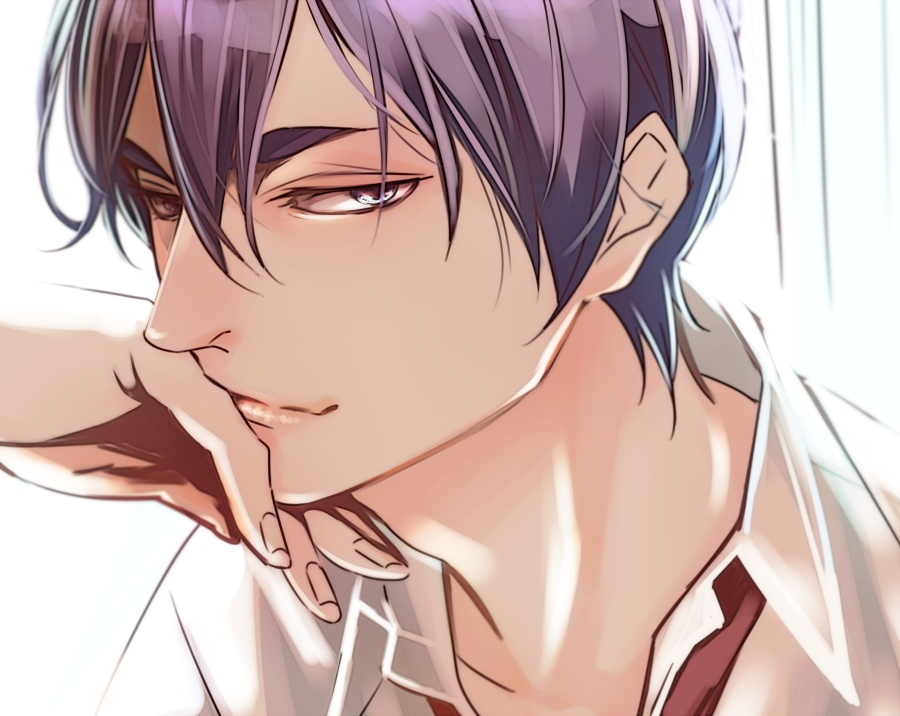 Ultra hot anime bishounen boy with violet hair and violet eyes Hanamiya Makoto from KnB Bad boy lewd seme looking seductively white shirt and red tie Kirisaki Daichi High - Seductive look kuroko-no-basket-yaoi Seme Makoto Hanamiya Formal wear Bishōnen - fanarts on yaoi-online.com