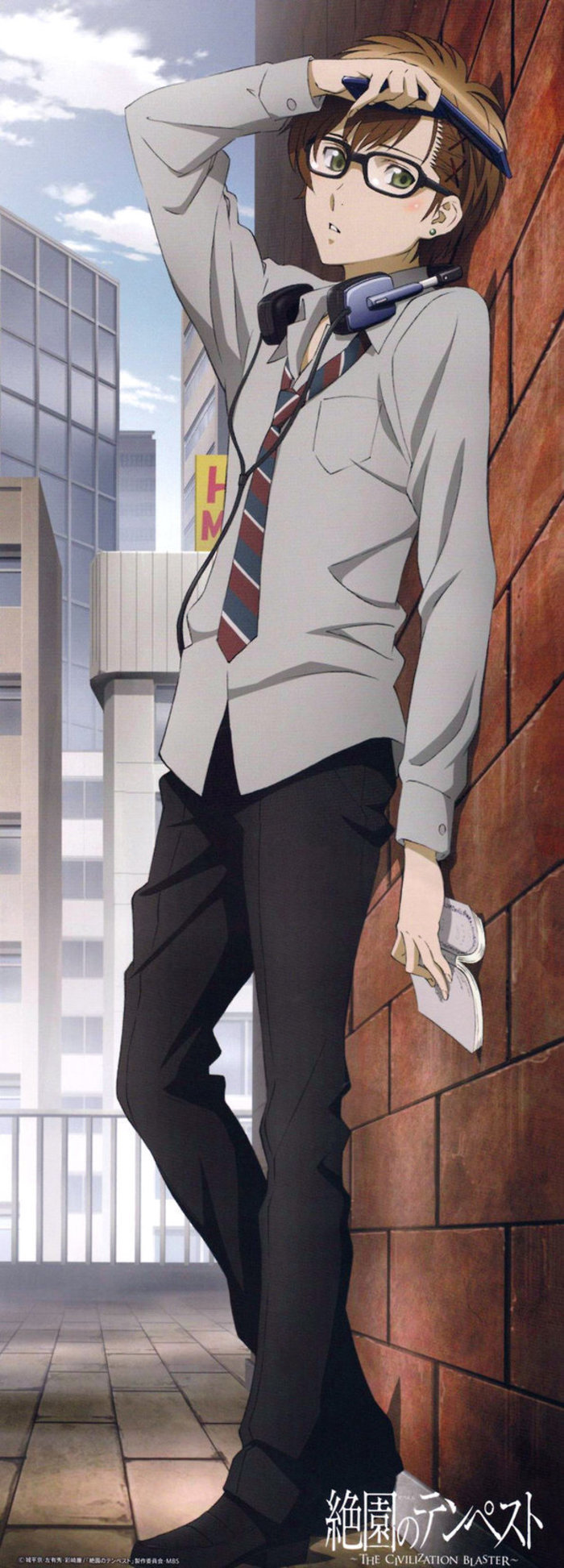 cute uke with glasses standing by the wall wearing school uniform holding a book big headphones on his neck boys school uniform in Japan Zetsuen no Tempest Yoshino Takigawa - Poems of you zetsuen-no-tempest-yaoi Yoshino Takigawa Uke Piercing Glasses Formal wear - fanarts on yaoi-online.com