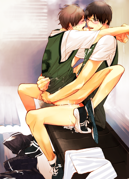 two school boys having sex in the high school locker room wearing sneakers and tracksuits with no trousers on hot uncensored 18 hard yaoi fanart having sex while wearing shoes and sitting R18 yaoi - Locker-room after hours miscellaneous-yaoi Glasses +18 - fanarts on yaoi-online.com