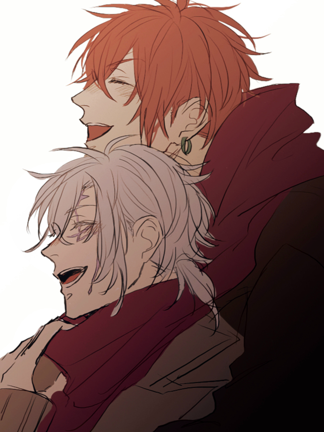 Allen Walker and Lavi hugging and laughing on a cold winter day cute D Gray man yaoi fanart perfect yaoi couple Lavi x Allen seme with red hair and uke with silver hair - Happy with you, my love d-gray-man-yaoi Piercing Lavi Hugging Allen Walker - fanarts on yaoi-online.com
