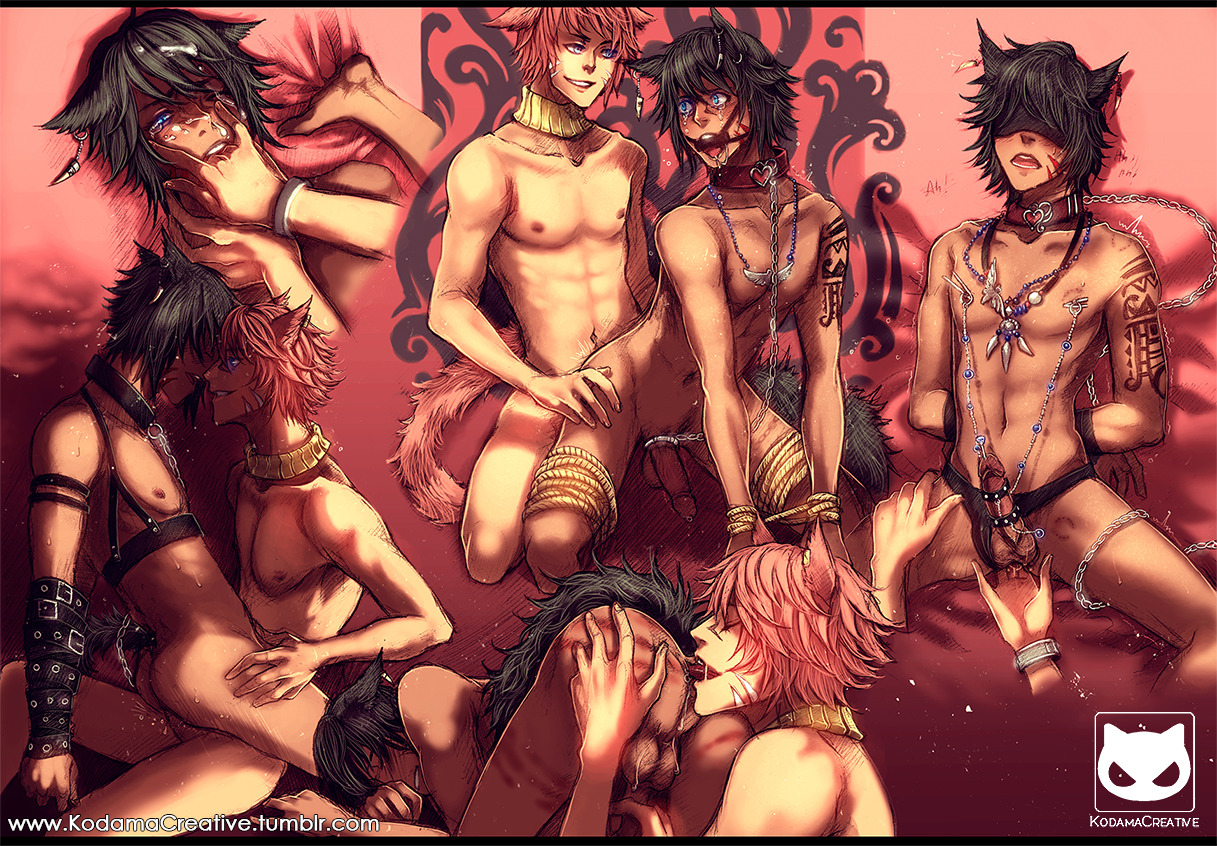 hard yaoi 18 compilation sexy neko boys having fun cute black haired uke and hot pink haired seme with cat ears and fluffy tails kemonomimi NSFW yaoi sex fanart R18 catboys uncensored - Thousand ways to love you miscellaneous-yaoi Yaoi desktop wallpapers Tattoos Piercing Neko boy BDSM +18 - fanarts on yaoi-online.com