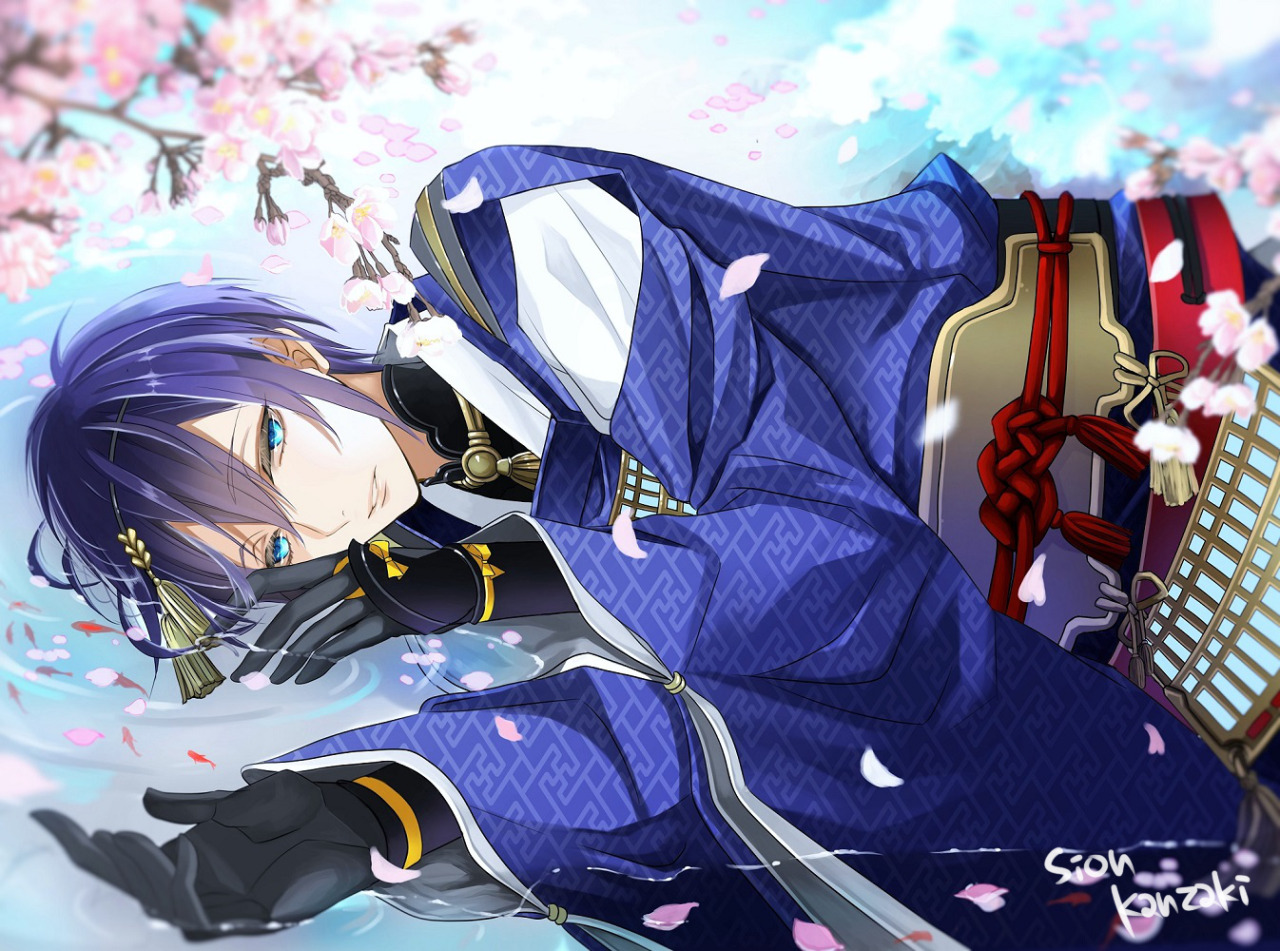 hot anime young man with long blue hair lying in the shallow water wearing pretty blue and white kimono and black long gloves Mikazuki Munechika wallpaper Touken Ranbu bishounen - Daydreamer touken-ranbu-yaoi Yaoi desktop wallpapers Uke Mikazuki Munechika Bishōnen - fanarts on yaoi-online.com