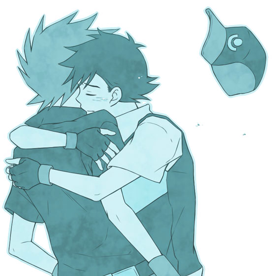 Ash x Gary Pokemon yaoi fanart Ash and Gary hugging cute Shounen ai picture in blue colors cute and romantic yaoi hug lovely boys couple - It's okay... miscellaneous-yaoi Yaoi avatars Hugging - fanarts on yaoi-online.com