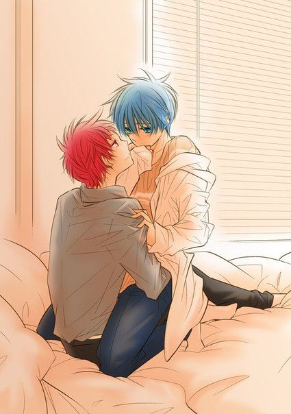 Akashi Seijuurou and Kuroko Tetsuya on the bed looking at each other passionately uke Kuroko and seme Seijuro KnB OTP Kuroko sitting on Seijuurous laps - Your eyes are the most beautiful kuroko-no-basket-yaoi Yaoi phone wallpapers Tetsuya Kuroko Akashi Seijūrō - fanarts on yaoi-online.com