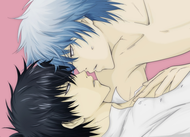 Uke Hijikata Toushirou and seme Sakata Gintoki cute Gintama yaoi fanart topless Gintoki leaning over Hijikata looking at his eyes and touching his chest - The warmth of your skin is everything I need gintama-yaoi Sakata Gintoki Hijikata Tōshirō - fanarts on yaoi-online.com