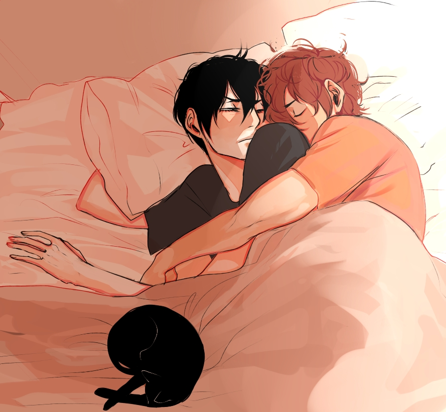 two boys sleeping together super cute lovely and comfy Shounen ai soft yaoi picture young gay couple spooning in the bed cuddling YowaPeda Shinkai Hayato Arakita Yasutomo - Snuggling in the bed with you yowamushi-pedal-yaoi Yaoi avatars Sleeping Shinkai Hayato Cute Arakita Yasutomo - fanarts on yaoi-online.com