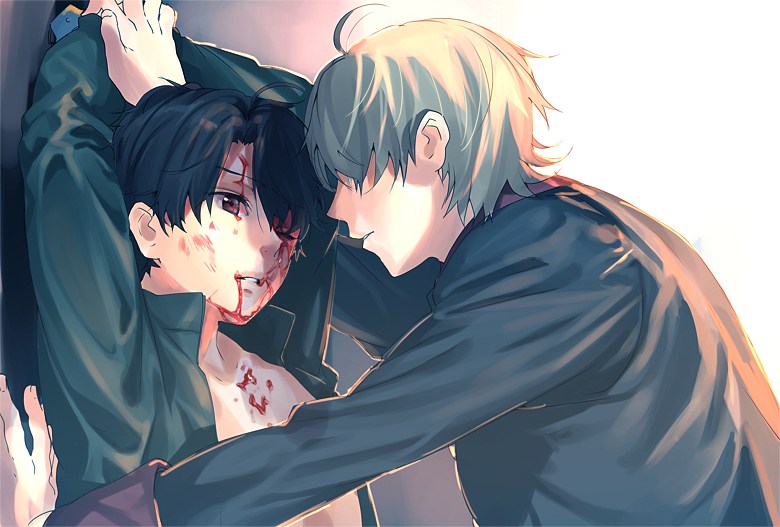 AldnoahZero Shounen ai yaoi fanart Slaine leaning over bloodied and beaten up Kaizuka holding hands above his head seme Slaine Troyard x uke Kaizuka Inaho school boys yaoi pairing - It hurts to love you, but I like the pain aldnoah-zero Crying Blood - fanarts on yaoi-online.com