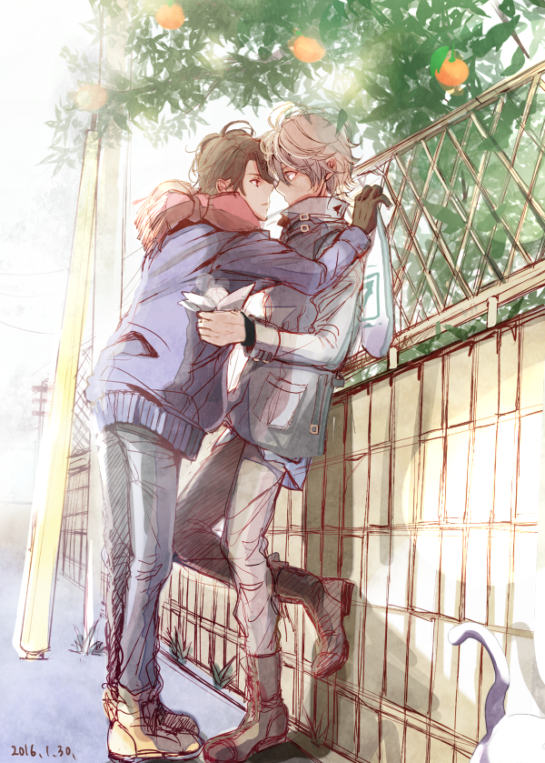 Kaizuka Inaho leaning over to Slaine Troyard to kiss him on a date taking a romantic stroll in the park Aldnoah Zero Kaizuka x Slaine dating boys pure first love and first kiss yaoi phone wallpaper - First love and the first kiss aldnoah-zero Yaoi phone wallpapers Kissing Cute - fanarts on yaoi-online.com