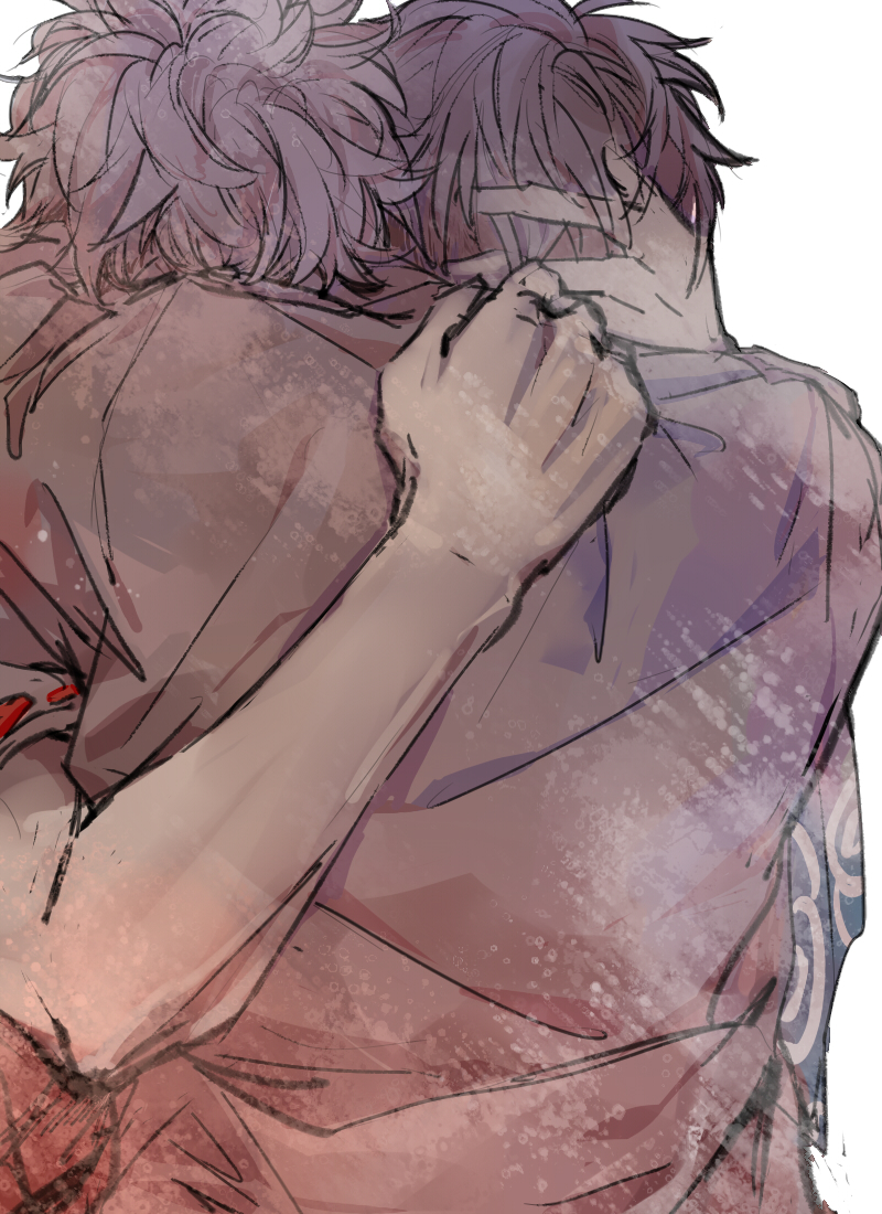 Gintama Silver Soul emotional Shounen ai fanart Gintoki and Hijikata hugging tightly GinHiji fanart Gintoki hiding his face in Hijikatas shoulder with the hand on the back of his head - I'll never let you go again, never... gintama-yaoi Yaoi phone wallpapers Sakata Gintoki Hugging Hijikata Tōshirō - fanarts on yaoi-online.com