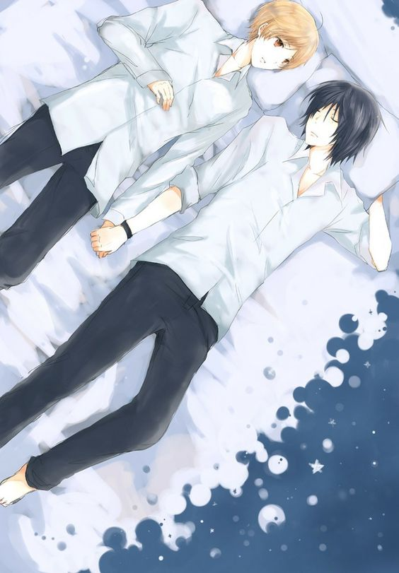 Natsume Takashi and Tanuma Kaname lying on bed holding hands yaoi fanart Natsume Yuujinchou Natsume's Book of Friends - Holding hands natsume-yuujinchou-natsumes-book-of-friends-yaoi TanuNatsu Tanuma Kaname Sleeping Natsume Takashi - fanarts on yaoi-online.com